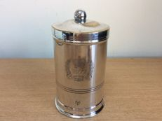 Antique and elegant English silver plated sugar container made for the Queen's Jubilee, England, 1900