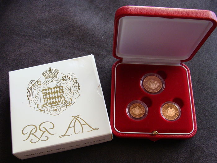 Monaco - 1, 2 and 5 Cents set (Proof) 2005