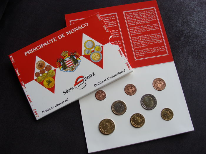 "Monaco - year pack/ year collection 2002 ""Rainier III"" in blister"