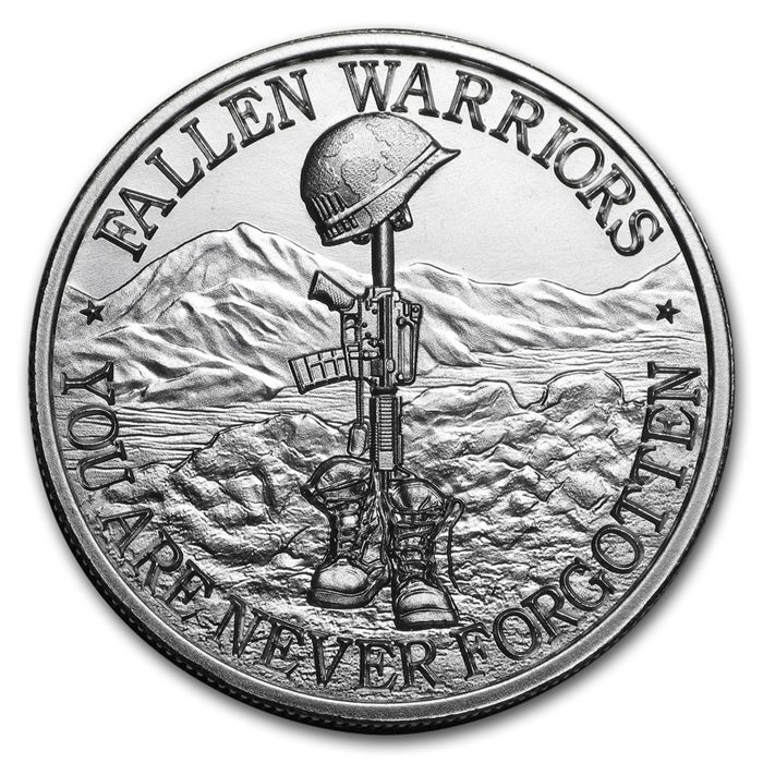 USA - 2 oz - Battlefield Cross -ultra high relief - You are never forgotten - 999 AG silver coin silver