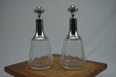 2 Decanters in silver and crystal, Gaston Potiez, 1904- 1916.France