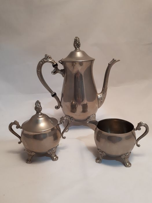 3 piece silver plated tea set, date unknown