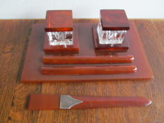 Beautiful art deco bakelite inkstand with crystal jars and letter opener - Belgium - 1930