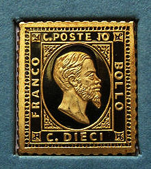 Rare stamp replica of Italy in gold 19 2K 800/1000 - Catawiki