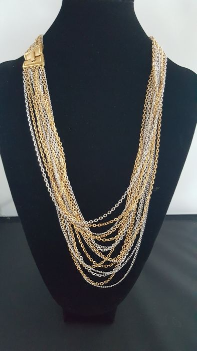 Trifari signed vintage gold and silver tone waterfall necklace New York 1950-1955