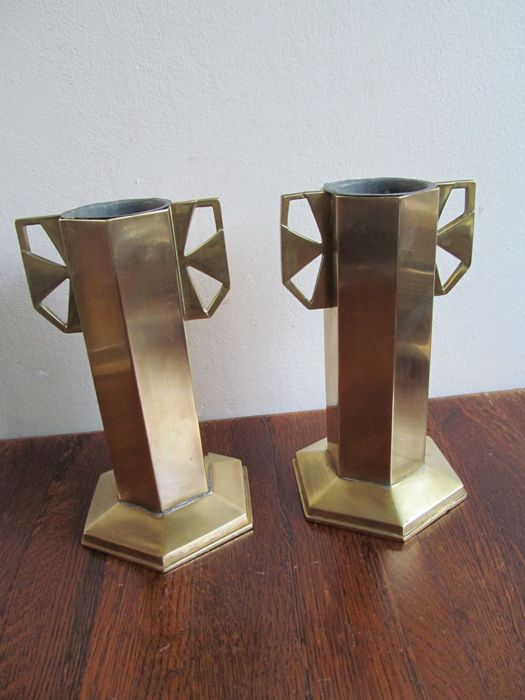 Art Deco Amsterdam School - Two brass church vases with zinc ...