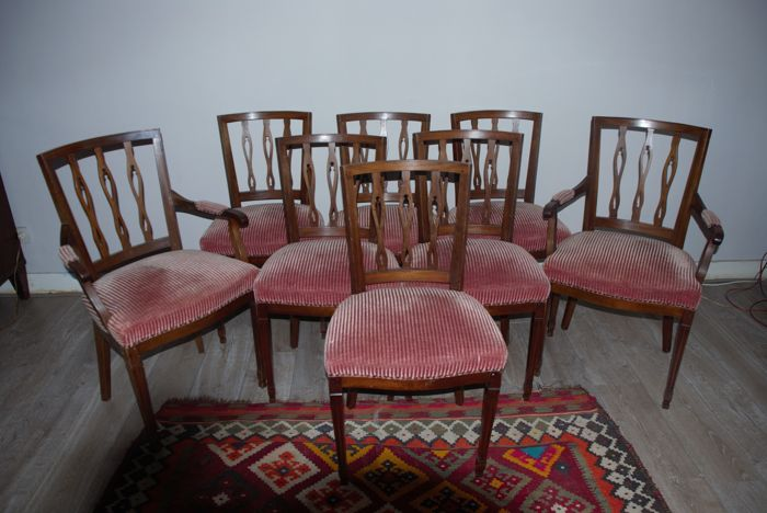 Complete Eetkamer Set.A Set Of Eight Walnut Louis Xvi Style Dining Room Chairs Catawiki