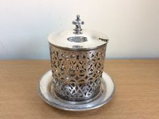 Antique Rattray Dundee jar with lid, in silver plated metal ENPS marked, England, 1900s