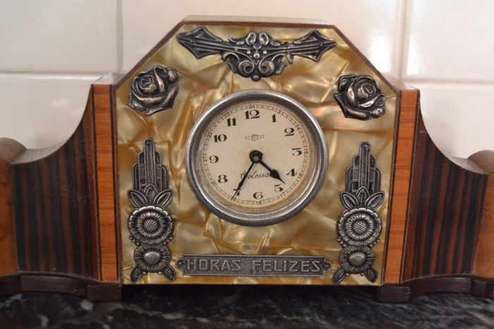 Antique desk clock - wood , mother of pearl and silver , Portugal ca.1920 -  No reserve price - Antique Desk Clock - Wood , Mother Of Pearl And Silver , Portugal Ca