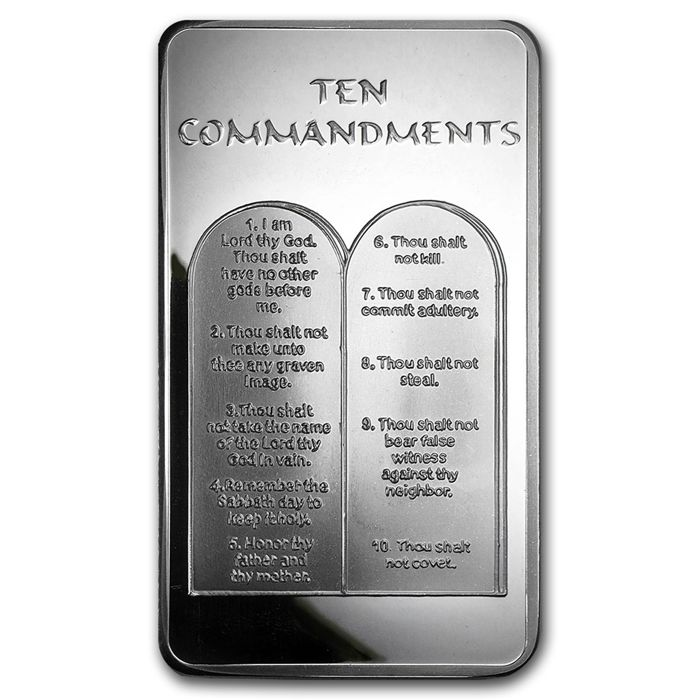 Apmex - 311 g. - 999/1000 silver bars - minted-10 Commandments of God with English font