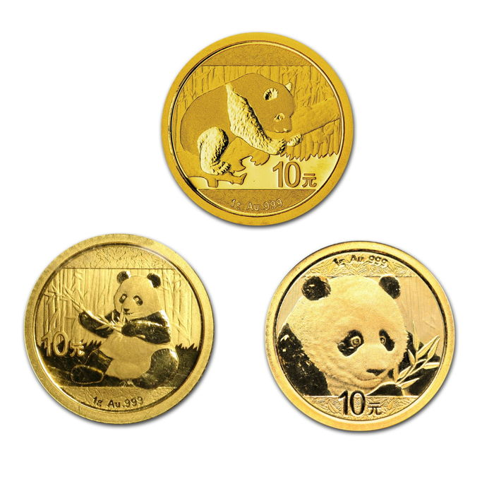 China - 10 Yuan 2016.  2017 and 2018 'Panda' (3 coins) - gold
