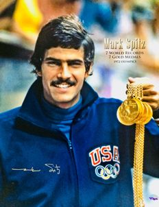 Mark Spitz - 9 Olympic Gold Medals - Authentic & Original Signed Autograph in Big Photo ( 40x50cm ) - with Certificate of Authenticity PSA/DNA