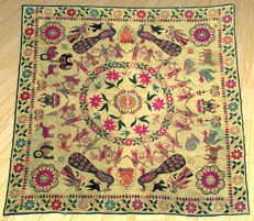 Antique Hand Embroidery Uzbek Suzani Upholstery - First Half of 20th Century - 180 cm x 170 cm