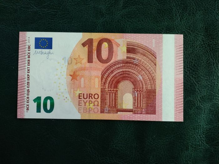 European Union - Slovakia - 10 Euro 2014 Draghi - MISPRINT - WHITE STRIP on obverse - ERROR NOTE