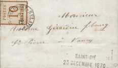 France 1870 - war of 1870 so-called Alsace Lorraine stamps, 10 c bistre on letter. Straight provisional mark, Yvert no. 5