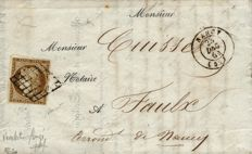 France 1852 - 10 centimes bistre cancelled with grid on a letter, beautiful shade, signed Calves - Yvert no 1