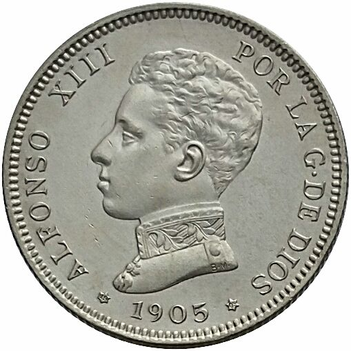Spain - Alfonso XIII 1905 - 2 pesetas silver - Madrid SM V - weight 9.94 g very beautiful, visible stars