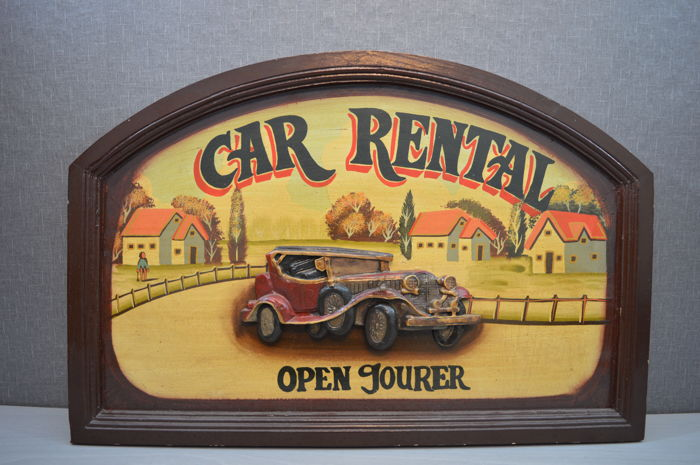 "Authentic wooden advertising sign ""CAR RENTAL"""