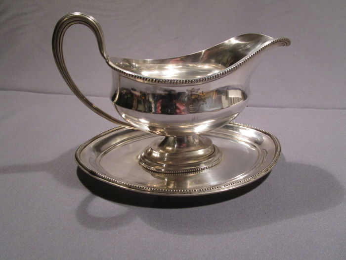 Mappin & Webb's - Princ' Plate - England - sauce boat - pearl rim - silver-plated - 1st half of the 20th century - marked