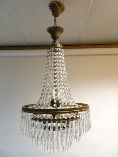 chandelier with crystal glass in Empire style, France, middle of 20th century