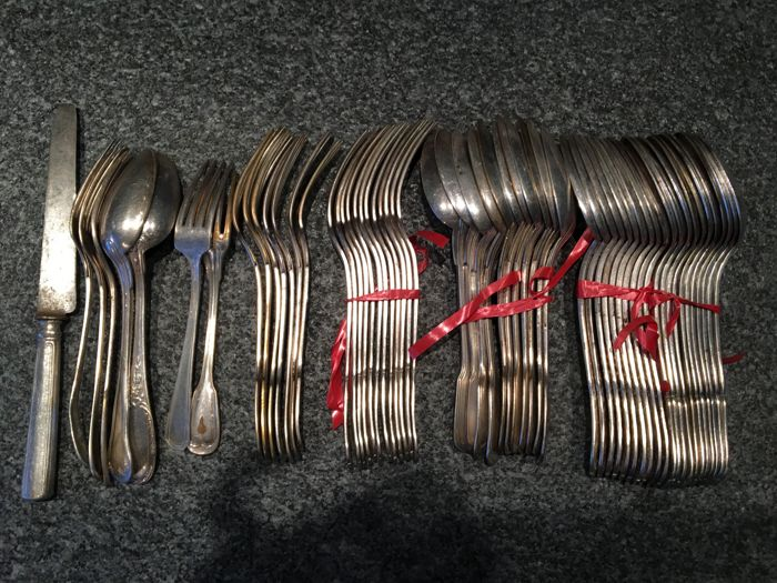 59-piece set of silver plated cutlery
