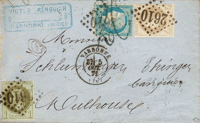France 1871 - Perforate Cérès  20 centimes bistre Yvert no. 37 and Laureate Empire, 1 and 4 centimes on letter, franking indicating September 71, signed Baudot