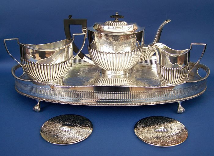 Vintage Edwardian 1903 English Silver Plated Tea Set, Tray & Coasters, From The Highclere Castle Estate