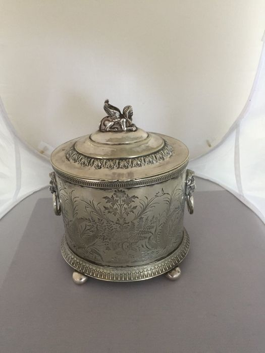 Large and rare silver plated cookie jar with lid and finial shaped as an Egyptian Sphinx, by Robert&Belk