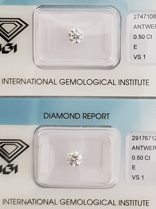 Couple of brilliant cut diamonds, 1 ct in total, E VS1