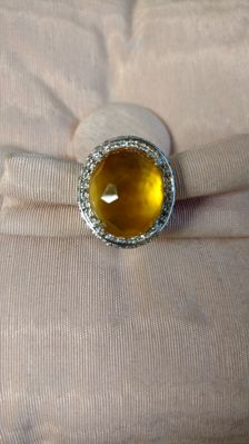 White gold ring (18 kt) with diamonds for 0.59 ct, L/VS and citrine - 13/53