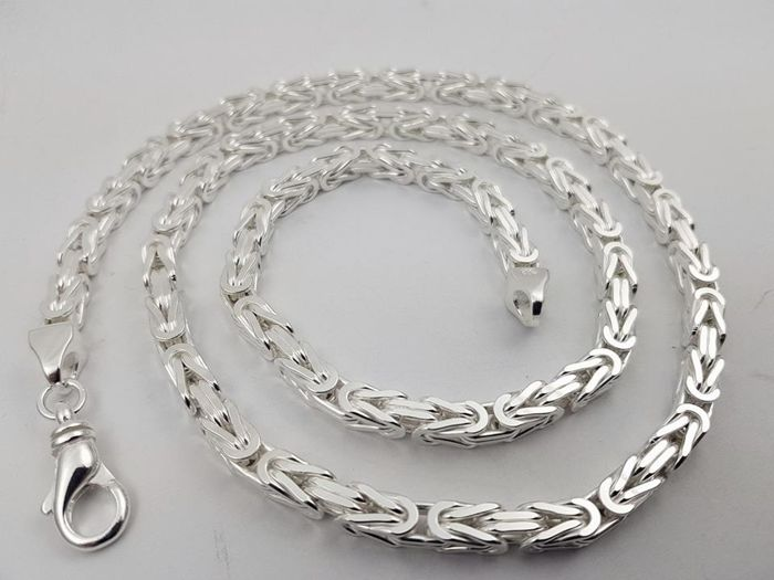 Silver king's braid link necklace, 925/1000 145 grams 75 cm, 6 mm