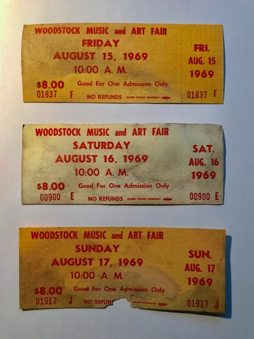 3 original unused Woodstock 1969 tickets (for all 3 days)
