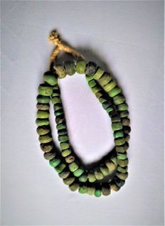 Strand of green Hebron beads