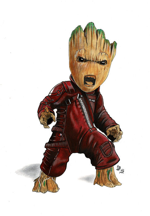 Baby Groot Guardians Of The Galaxy Original Drawing Diego