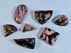 6 pieces Rhodonite Cabochon 208 ct
