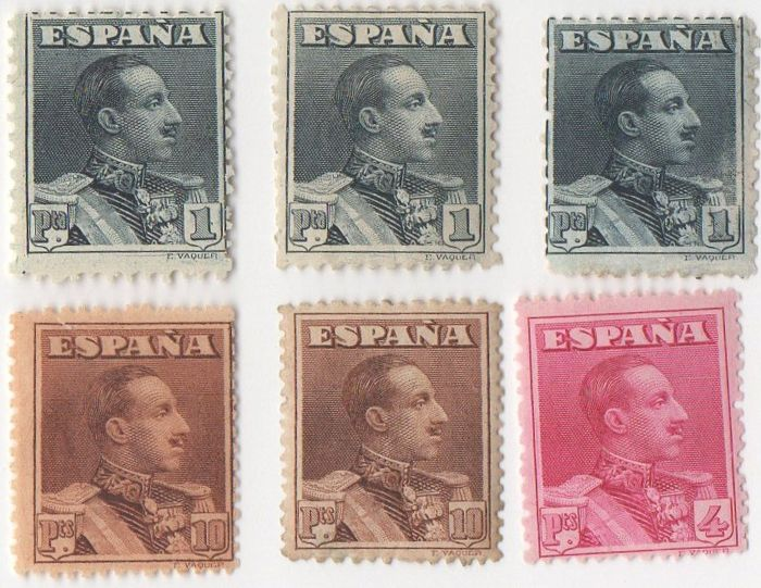 Spain 1922 - Alfonso XIII Vaquer type - Edifil 321, 322 and 323