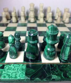 Malachite and Marble Chess set, solid hand carved stone with copper inlay detail.