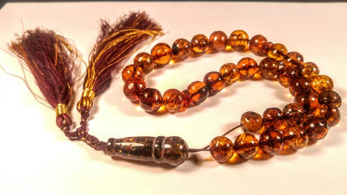 Vintage Genuine Baltic Amber necklace- Prayer Tesbish 33 beads , length 37 cm, 36 grams