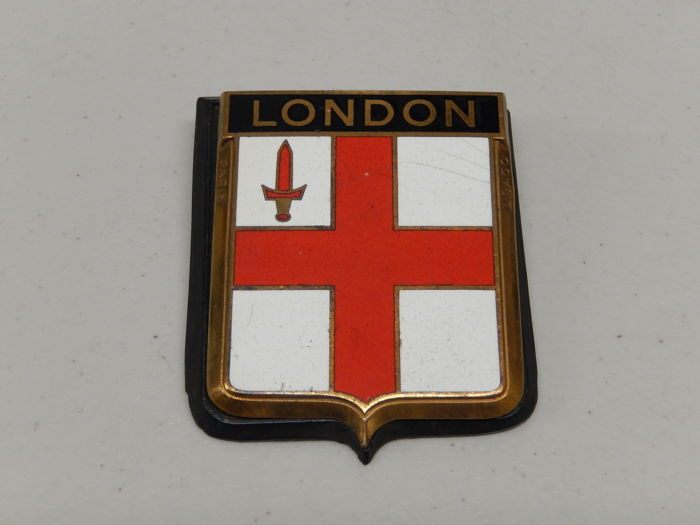 UK London Badge - Vintage Brass and Enamel London England Enamel Car Badge Auto Emblem  - 80 x 60 mm