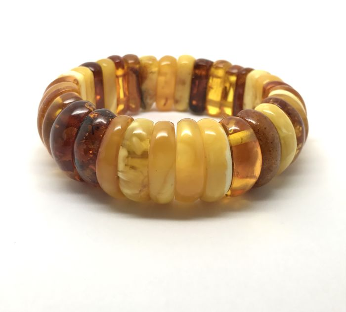 Old cuff bracelet of natural Baltic amber - not pressed, not treated, multi colour, 37.6 gr