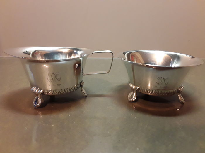 Silver bowls for milk and sugar Finland circa 1960.
