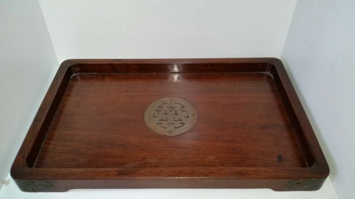 Chinese Red Wood Tray - Asia 1920/1930