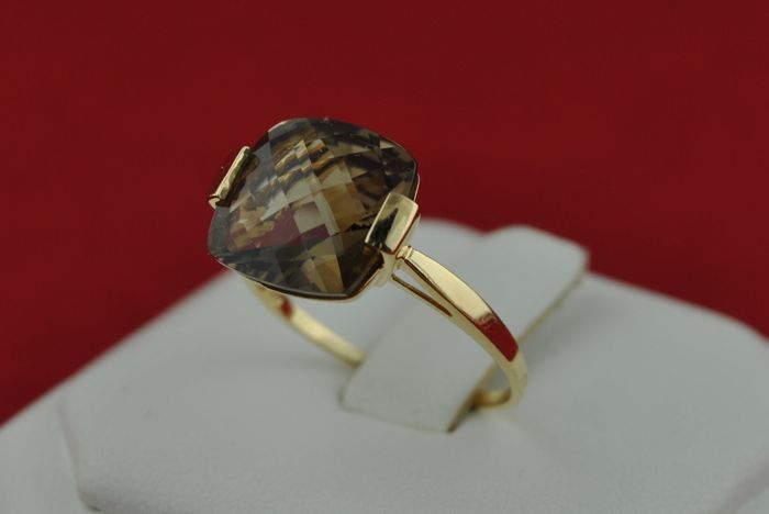 Square cut Smoked Quarz Stone set on 18k Yellow Gold Ring - E.U Size 54*Re-sizable - Fast Shipping