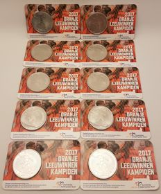 The Netherlands - Orange Lionesses medal 2017 BU quality in coin card (10 pieces).