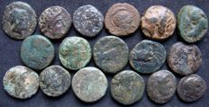 Greek Antiquity - LOT of 17 X AE Greek Coins (4th-2nd Cent. BC), value, variety & diversity, different mints & city states