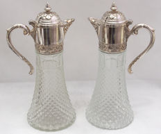 Pair Of Glass Claret Jug With Silver Plated Top, Italy - Early 20th Century