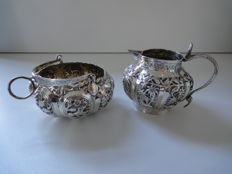 Silver milk jug and sugar bowl - India - mid 20th century