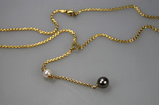 Fope - 18 kt gold Fope necklace with Akoya pearls, 42 cm long