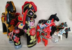 Various horses - painted wood, glass and metal - Dalarna, Nils Olsson design from Sweden, Scandinavia and USSR Russia (12)
