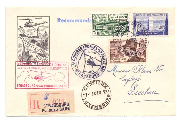 Luxembourg 1952 – Letter of First International Transport by helicopter with Return flight Strasbourg-Luxembourg 1-6-1952